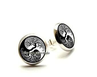 Yin Yang earrings, Yin Yang jewelry, yoga earrings, yoga jewelry, yoga earrings zen jewelry, meditation jewelry, Hypoallergenic Earrings