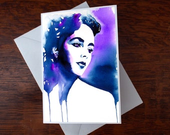 Greeting Card Old Hollywood Original Watercolour Painting Fashion Illustration Glamour 1950s Art Purple