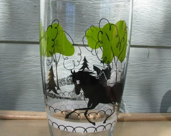 Large, 32 oz. Tumbler or Cocktail Shaker, Libbey, Lime Green Trees, Black Horse