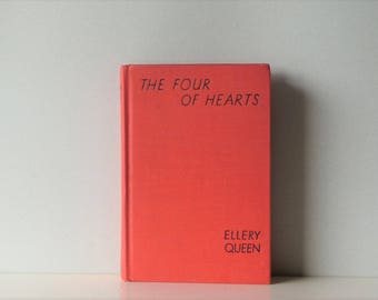 Vintage Ellery Queen The Four of Hearts - Detective Novel - Red Book