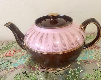 Gorgeous Pink and Brown Sadler Tea Pot