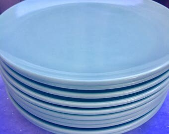 10 PC Melmac U.S.M.C Dinner Plates (Aqua-Sea Green)
