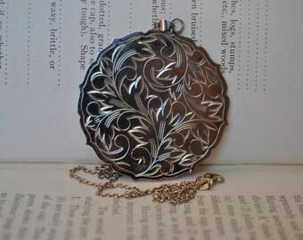 Huge Antique Sterling Pendant - 1920s Art Nouveau Silver Disc Necklace