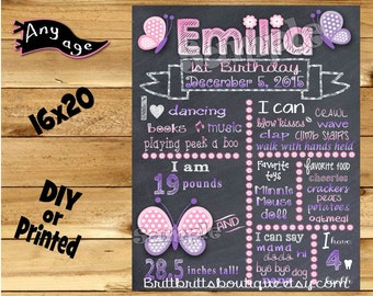 First Birthday Chalkboard sign girl 1st birthday butterfly chalk board photo prop customized first birthday poster digital file or printed