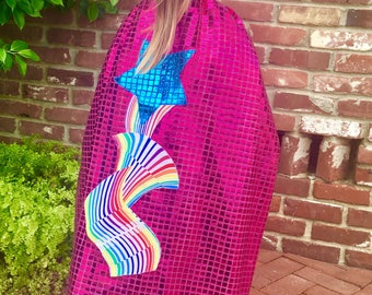 Rainbow Star Sequined Superhero Cape for Kids