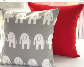 CLEARANCE Pillow Cover, Pillow, Decorative Throw Pillow, Cushion, Baby, Nursery, Solid Red Pillow, Gray Elephant,  Baby Boy, Baby Girl, Show
