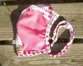 Polka Dot Hearing Aid Hat with Pink Mesh for those with hearing aids/cochlear implants