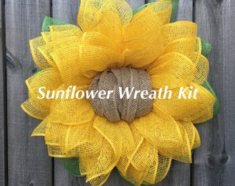 Sunflower Wreath Kit, Julie's Wreath Boutique Sunflower Kit, DIY Wreath, Instructional Video, Front Door Wreath Kit