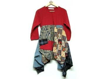 M/L Boho Chic Tunic Dress Fun Artsy Patchwork Shabby Urban Chic Hippie Upcycled Women's Clothing by Primitive Fringe