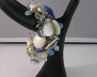 Sweet Upcycled Blue and White Cha Cha Cha Bracelet