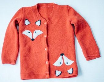 Fox in Sheep's Clothing Handmade Orange Lambswool Toddler Cardigan Sweater, Sz 3T