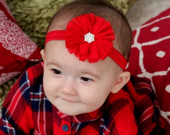 Red Flower Headband, Red Headband, Red Flower Girl Headband, Christmas Headband, Red Hair Bow, Red Flower Clip, Newborn Headband, Red Clip