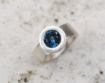 London blue topaz silver ring; wide band silver ring with blue topaz