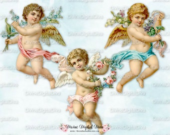 Vintage Cherubs Cupids Angels | Roses Wings | Clipart Digital Instant Download