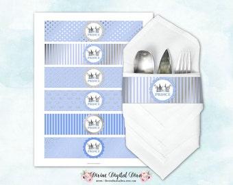 Napkin Wrappers Light Blue & Silver |  Prince Crown | Digital Instant Download