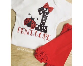 First Birthday One Ladybug love bug personalized onesie shirt top