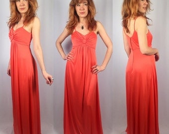 1970's coral dress empire waist maxi dress