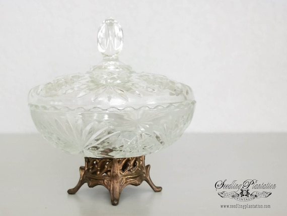 Vintage Crystal Compote Bowl with Brass Pedestal Base