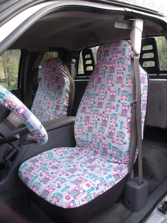A Set of Owls interlock Print. Seat Covers and Steering Wheel Cover Custom Made.