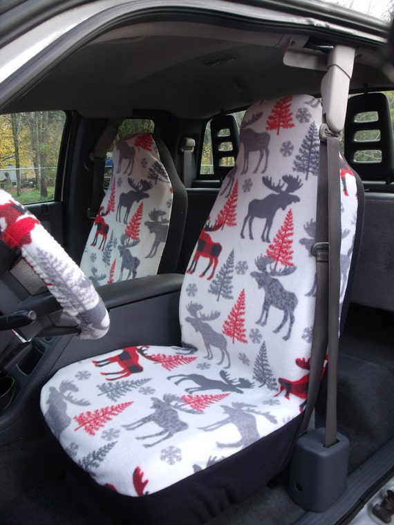 A Set of Famo Patterned Moose print. Seat Covers and Steering Wheel Cover Custom Made.