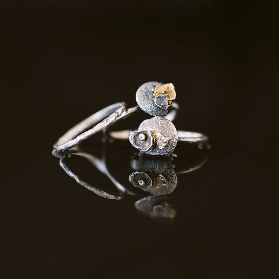 Sterling Silver Lunar Ring with Gold Accents