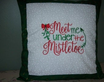 Meet me under the Mistletoe, Embroidered Pillow Cover