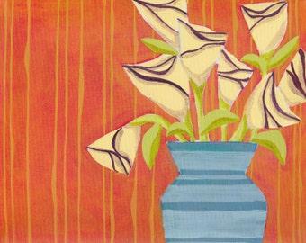 Still life flowers on orange, print of original painting
