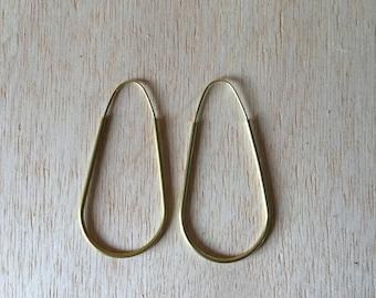 Handmade Brass Hoop Earrings 2 inch Gold Fill or Silver Earwire Modern Minimalist Teardrop Everyday Jewelry Light Weight