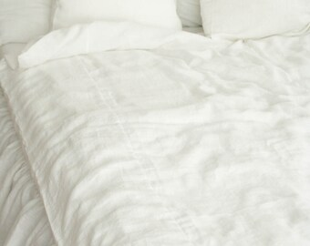 White Linen Duvet Cover/ Queen Duvet/ Linen Duvet/ Milk White