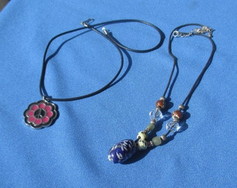 Lot Of Retro Rope Necklaces Flower Peace Sign Beaded