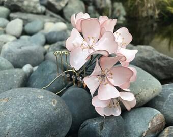 Japanese Kanzashi Pink Cherry Blossom Sakura With Bira-bira, Hair Pin Stick, Bridal W/ Free Wooden Storage Box