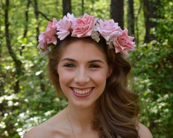 Pink Rose Flower Crown Wedding Hair Wreath bridal floral