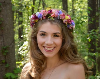 Spring Rainbow Flower Crown Hair Wreath Floral Headband Colorful Pink Purple Green Wedding Hair Bridal Bonnaroo EDC Maternity photo shoot