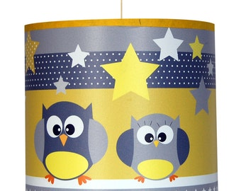 """Kids ceiling lights """"The owls are in yellow"""""""