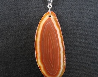 Brazilian Agate Slab Necklace, Agate Pendant Necklace, Rock Slice Pendant