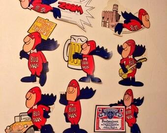 Set of 8 Vintage Budweiser Bud Man Stickers