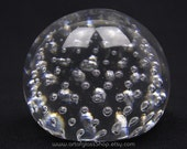 Whitefriars 9308 glass paperweight with controlled bubbles
