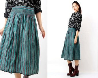 Trachten Skirt / Dirndl Dress / Trachten Green Skirt/ German Skirt/ FolkSkirt / Trachten Large Skirt /