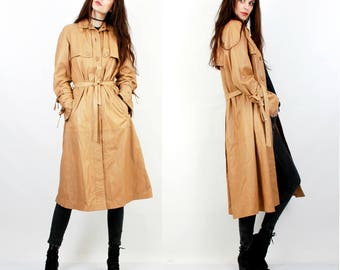80s Beige Leather Coat / Belted Jacket / Long Leather Jacket / Leather Trench Coat / Medium Trench Coat