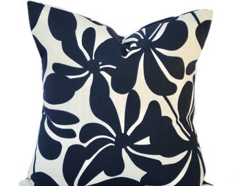 One Indoor/Outdoor pillow cover, cushion, decorative throw pillow, decorative pillow, accent pillow, Floral outdoor pillow, Navy Pillow