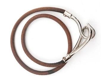 Hermes Hook Palladium Leather Bracelet /Choker