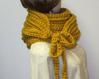 Bright Mustard Yellow Chunky Scarf, Womans Neckwarmer, Warm Crochet Scarves, Large Scarf, Chunky Knit Scarf, Oversized Cowl, Kristin B4-002