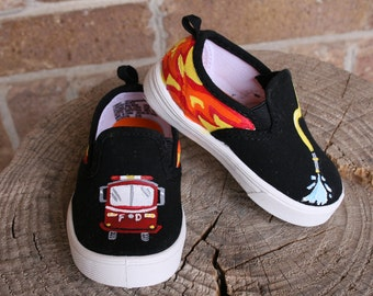 Hand PAINTED FIREFIGHTER SHOES, Fireman Shoes, Toddler and Children Sizes, Fire truck, fire hose, flames