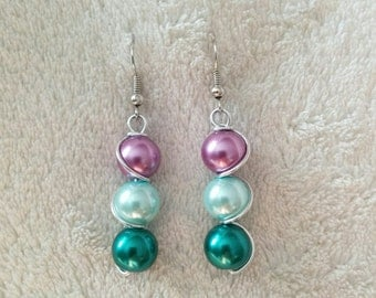 Wire Wrapped Stainless Steel Twisted Spiral Earrings with Pearlized Purple and Teal Glass Beads