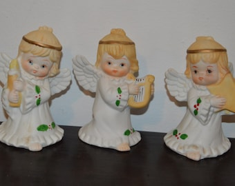 3 angel figurines angels playing instruments angel vintage angels musical angels angel decor collectible angels ceramic angels heavenly