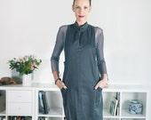 Black 100% Cotton Jumper Dress, Pinafore Dress, Womens Pinafore, High Fashion Dress, Day Dress,  Work Clothes, Office Dress, Business Casual