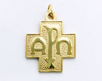 Vintage Gold Cross Pendant Religious Cross Charm Protection Necklace