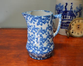"""Blue Spongeware Pitcher Collectible Antique 9"""" Milk Pitcher Rustic Farmhouse Late 1800's to Early 1900's I Ship Internationally"""