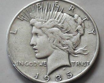 1935s Silver Liberty PEACE Dollar US Coin - Good Details - sku p25