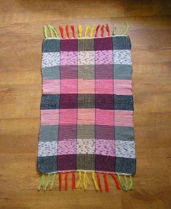 Vintage Rag Rug Bath Mat Striped Runner Floor Cover Fringe